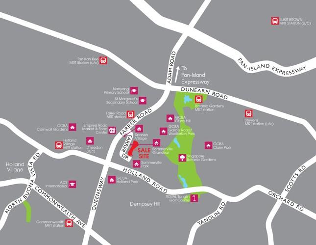 Farrer Drive Condo Location Map