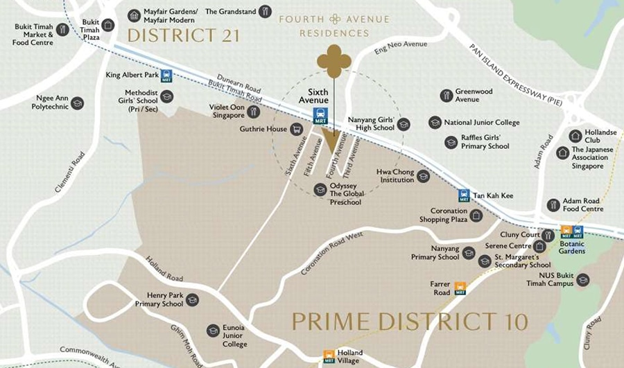 Fourth Avenue Residences 富雅轩 location map