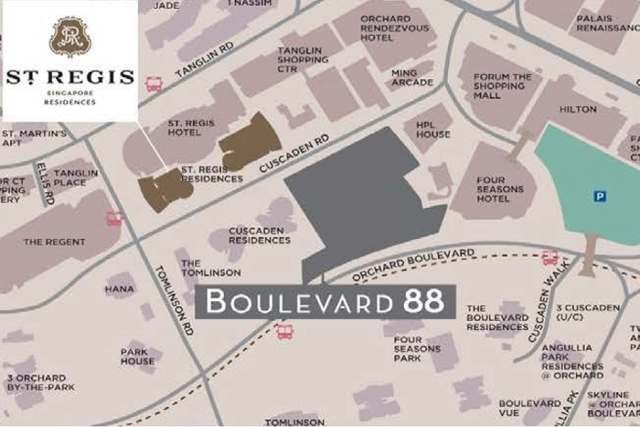 St Regis Residences Location Map