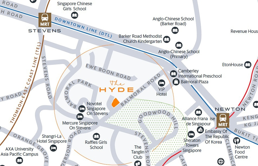 The Hyde Location Map