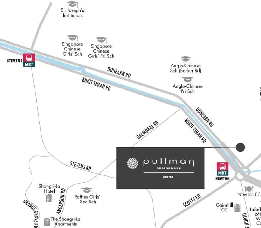 Pullman Residences Newton Map