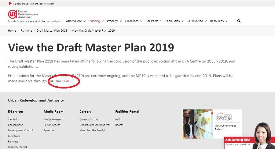 URA Master Plan 2019 Main Page