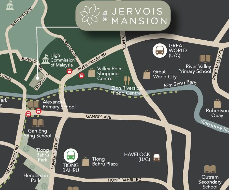 Jervois Mansion Location Map